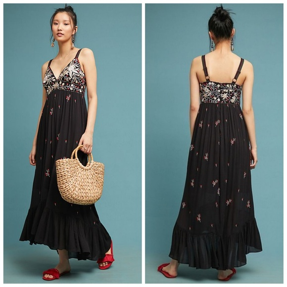 98b3290fbffc7 Anthropologie Dresses | Fiona Embroidered Maxi Dress By Ranna Gill ...